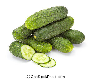 Pile of whole and sliced cucumbers (Cucumis sativus) - Pile...