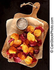 Tasty healthy beetroot chips
