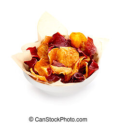 Bowl of healthy organic beetroot chips