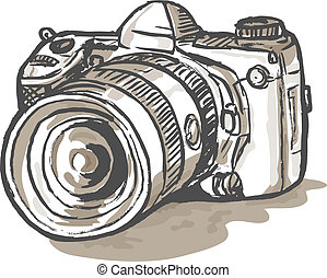 drawing of a digital SLR camera - hand sketch drawing...