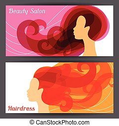 Woman silhouette with curly hair on banners for hairdressing salon