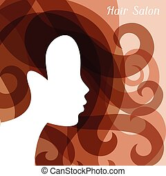 Woman silhouette with curly hair on bacground for...