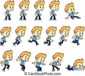 Blue Shirt Boy Game Sprites - Blue Shirt Boy game sprites...