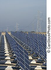 huge solar station and high tension tower