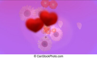 two hearts with a flower flying background