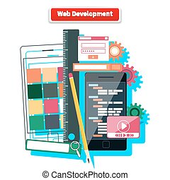 Web Development Concept - Webdesign development interface...