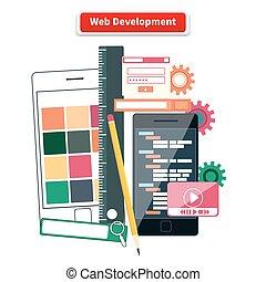Web Development Concept - Webdesign development interface...