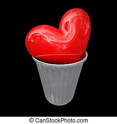 lost love - big 3d red heart in metal trash can isolated on...