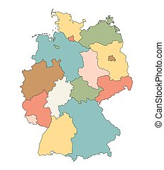 colorful vector map of Germany (all federal states on separate layers)
