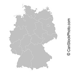 grey vector map of Germany (all federal states on separate layers)