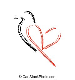 Artistic bird with wings shaped like a heart