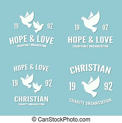 Vector dove logo or icon Hope and love poster templates -...
