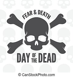 Day of the dead print. Skull and bones logo or icon -...