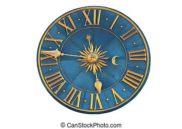Medieval clock isolated on a white background