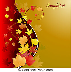 gold autumn background, vector