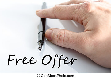 Free offer text concept isolated over white background