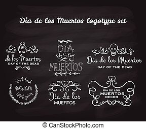 Day of the dead vector logotype set. Hand sketched badges...