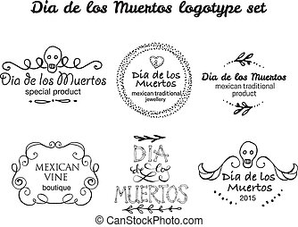 Day of the dead vector logotype set Hand sketched badges Dia...
