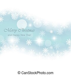 Glowing blue Christmas card with snowflakes and stars