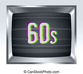 60s old tv screen with noise - 60s on old tv screen with...