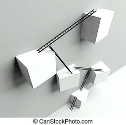 Business success concept, metaphoric obstacles
