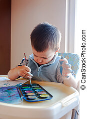 Toddler painting with watercolors