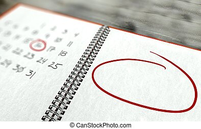 Red circle marked important day, calendar concept