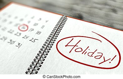 Holiday important day, calendar concept