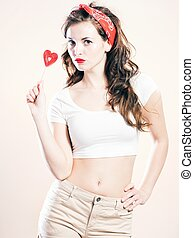 Pretty young woman pin up girl style