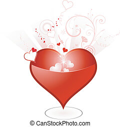 Red heart with floral and grunge elements