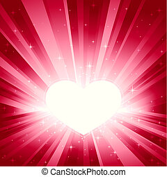 Pink light burst with heart - Valentine heart in shades of...