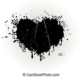 Heart shaped grungy ink splat - description: Abstract heart...