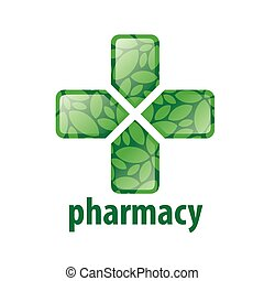 abstract green vector logo cross for pharmacy