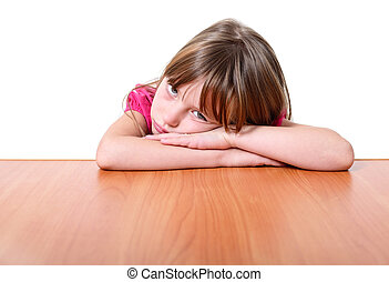 Sad little girl - Sad little girl isolated on white...