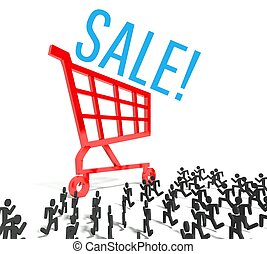Sale, crowd of people running to shopping cart