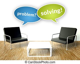 Solving problem concept, office interior with armchairs