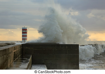 Stormy waves against pier