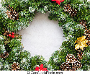 Christmas wreath - Close up of a Christmas Wreath with pine...