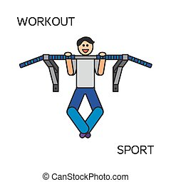 Sportman with sports equipment for street workout and...