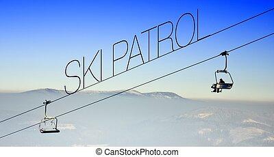 Ski patrol on lift, creative illustration - Ski patrol on...
