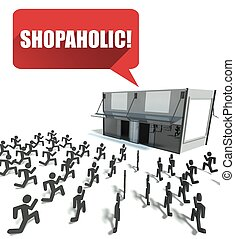 Shopaholic, crowd of people running for shopping