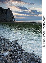 Nightfall in the beach of Etretat, Cote dAlbatre, Pays de...
