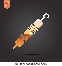 shashlik icon - Vector gold shashlik icon on dark background...