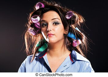 Funny woman portrait hair with curlers - Funny woman...