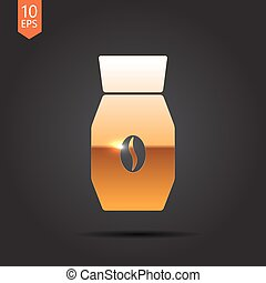 Vector color flat coffee bottle template - Vector gold...