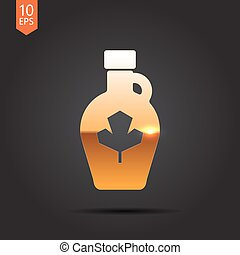 Vector color flat maple syrup bottle template