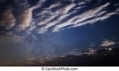 Milky Way and clouds - Timelapse video of dusk clouds and...