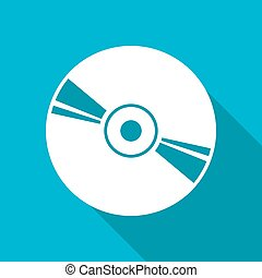 Compact disc icon - Vector white flat compact disc icon on...