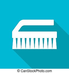 Cleaning brush - Vector white flat cleaning brush icon on...