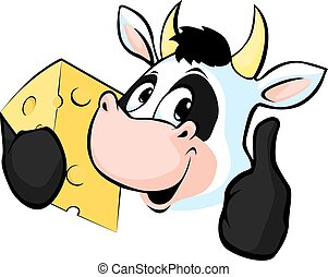 Cow hold Cheese - Vector illustrati